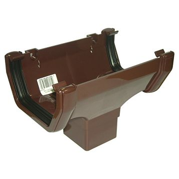 Floplast Square Gutter Running Outlet (W)114 mm, Brown