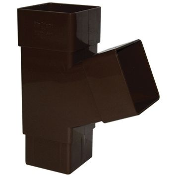 Floplast Square 67.5 ° Gutter Downpipe Branch (Dia)65 mm, Brown