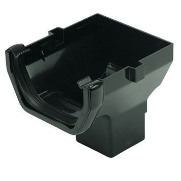 Floplast Square Gutter Stop End Outlet (W)114 mm, Black