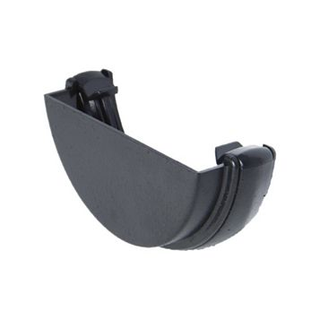 Floplast Half Round Gutter External Stop End (Dia)112 mm, Black