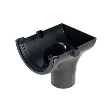 Floplast Half Round Gutter Stop End Outlet (Dia)112 mm, Cast Iron Effect