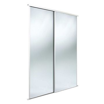 Classic Mirrored Sliding Wardrobe Door (H)2220 mm (W)610 mm, Pack of 2