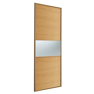 Fineline Oak & Mirror Sliding Wardrobe Door (H)2220 mm (W)914 mm