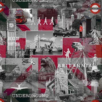 Black, Grey & Red Best Of British Wallpaper