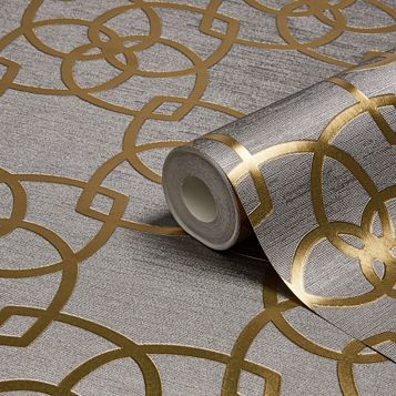 Precious Silks Warm Gold & Silver Geometric Metallic Wallpaper