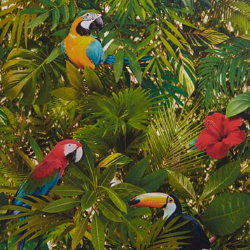 Tropical Jungle Leaves & Birds Wallpaper