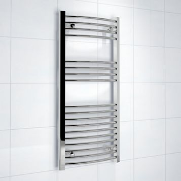 Kudox Curved Ladder Towel Warmer Silver Chrome (H)1000 (W)450mm
