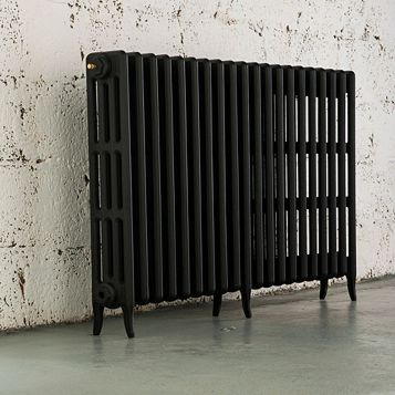 Arroll 4 Column Radiator, Black Primer (W)1234 mm (H)760 mm