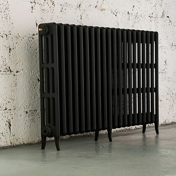 Arroll 4 Column Radiator, Black Primer (W)1114 mm (H)760 mm