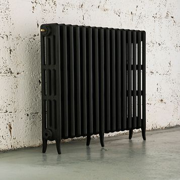 Arroll 4 Column Radiator, Black Primer (W)874 mm (H)760 mm
