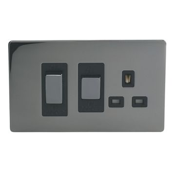 Lap 2-Gang 45A Cooker Switch with 13A Socket