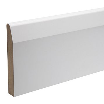 Kota White Polymer Coated MDF Chamfered Skirting (L)2400mm (W)119mm (T)18mm