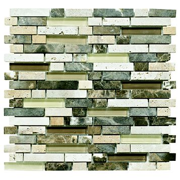 Stone & Glass Emperador Wall Tile, (L)300mm (W)308mm