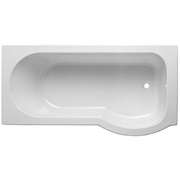 Cooke & Lewis Ramsay RH Acrylic Curved Shower Bath (L)1675mm (W)800mm