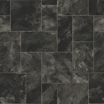 Colours Octavina Black Slate Effect Vinyl 6 m² Sheet