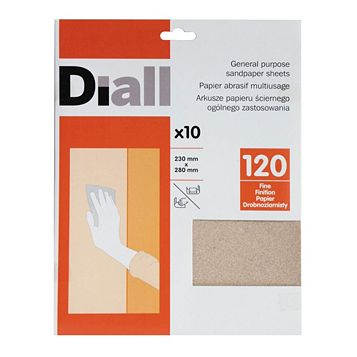 Diall 120 Grit Fine Sandpaper Sheet, Pack of 10
