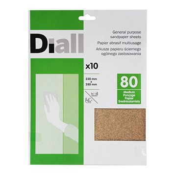 Diall 80 Medium Sandpaper Sheet, Pack of 10