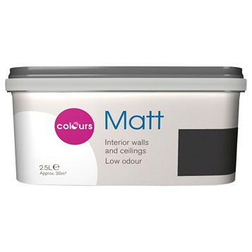 Colours Black Matt Emulsion Paint 2.5L