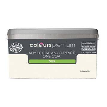 Colours Premium Any Room One Coat Antique White Silk Emulsion Paint 2.5L