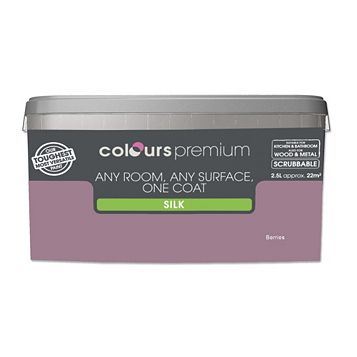 Colours Premium Any Room One Coat Berries Silk Emulsion Paint 2.5L