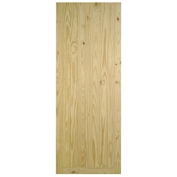 Framed, Ledged & Braced Clear Pine Veneer Timber Unglazed External Front Door, (H)2032mm (W)813mm