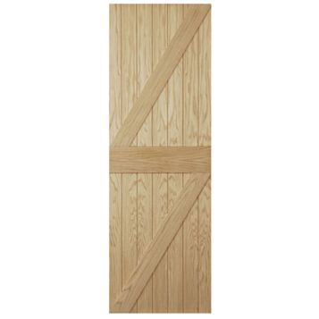Ledged & Braced Oak Veneer External Door, (H)1981mm (W)762mm