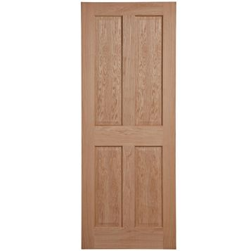 4 Panel Oak Veneer Internal Door, (H)1981mm (W)686mm