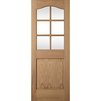 2 Panel Arched Oak Veneer Internal Door, (H)1981mm (W)686mm