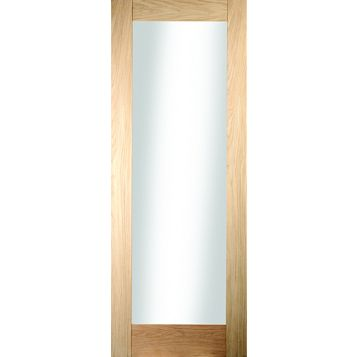 1 Panel Shaker Oak Veneer Glazed Internal Door, (H)1981mm (W)762mm