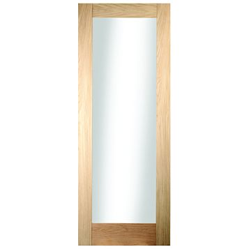 1 Panel Shaker Oak Veneer Glazed Internal Door, (H)1981mm (W)610mm