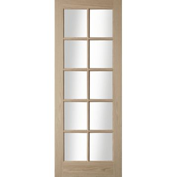 10 Lite Oak Veneer Internal Door, (H)1981mm (W)838mm
