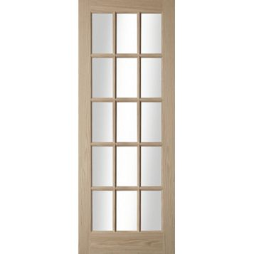 15 Lite Oak Veneer Glazed Internal Door, (H)1981mm (W)762mm