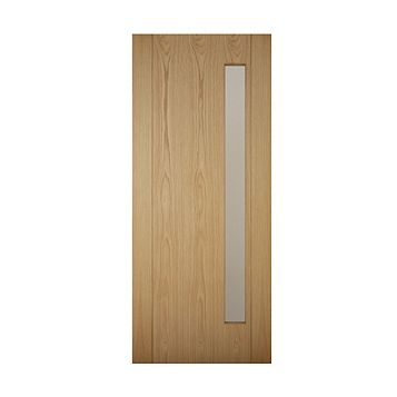 Contemporary Grooved Panel White Oak Veneer Timber Glazed External Front Door, (H)1981mm (W)838mm