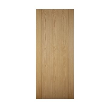Contemporary Grooved Panel White Oak Veneer Timber External Front Door, (H)1981mm (W)838mm