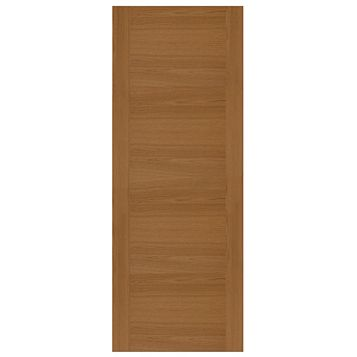 Contemporary Grooved Panel White Oak Veneer Timber External Front Door, (H)2032mm (W)813mm