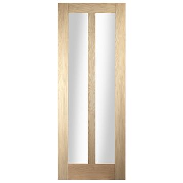 2 Panel Oak Veneer Internal Door, (H)1981mm (W)762mm