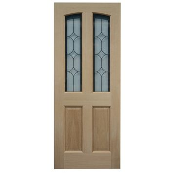 Calais Oak Veneer Partially Glazed External Front Door, (H)1981mm (W)838mm