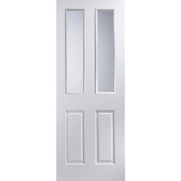 4 Panel Primed Smooth Glazed Internal Door, (H)1981mm (W)610mm