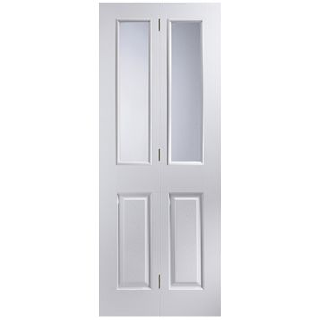 4 Panel 2 Lite Primed Woodgrain Effect Glazed Internal Bi-Fold Door, (H)1981mm (W)762mm