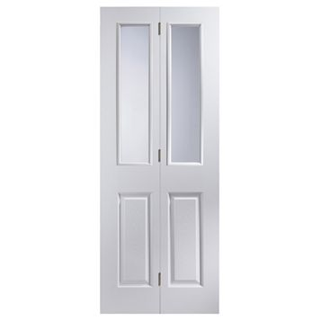 4 Panel 2 Lite Primed Woodgrain Effect Glazed Internal Bi-Fold Door, (H)1950mm (W)674mm