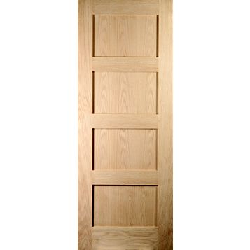 4 Panel Shaker Oak Veneer Internal Door, (H)1981mm (W)762mm