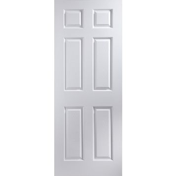 6 Panel Pre-Painted White Internal Door, (H)2040mm (W)826mm