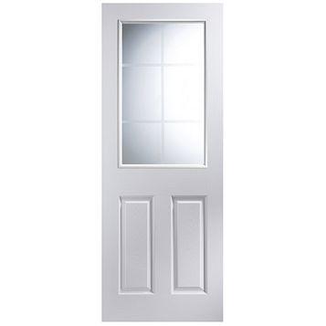 panel pre painted white glazed internal door h 1981mm w 686mm. Black Bedroom Furniture Sets. Home Design Ideas