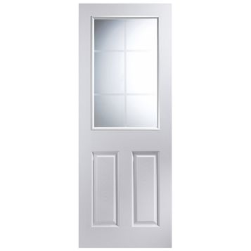 6 Panel Pre-Painted White Internal Door, (H)2040mm (W)726mm