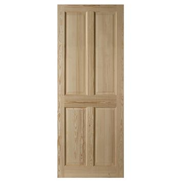 4 Panel Clear Pine Internal Door, (H)2040mm (W)626mm