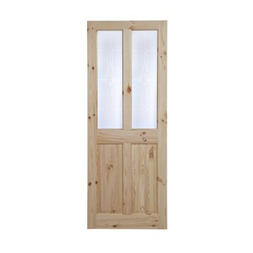 4 Panel Knotty Pine Glazed Internal Door, (H)2040mm (W)726mm