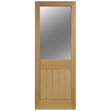 Cottage 2 Panel Clear Pine Glazed Internal Door, (H)1981mm (W)686mm