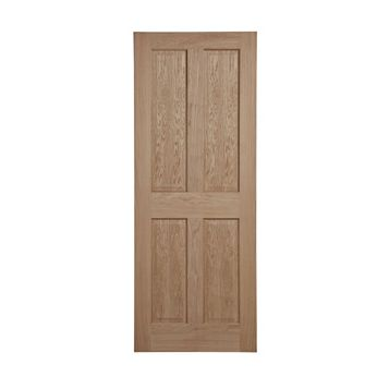 4 Panel Oak Veneer Internal Unglazed Door, (H)2040mm (W)726mm