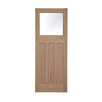 Traditional Panelled Oak Veneer Glazed Internal Door, (H)1981mm (W)838mm