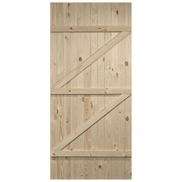 Cottage Panelled Ledged And Braced Knotty Pine Internal Unglazed Door, (H)1981mm (W)838mm